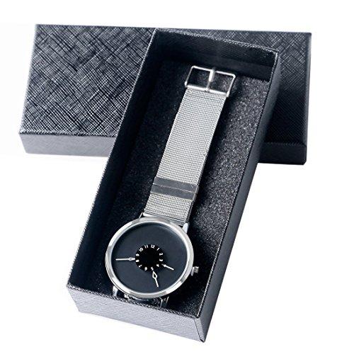 Xigeya Paidu Quarzuhr Edelstahl Mesh Armband schwarzes Zifferblatt ideales Geschenk