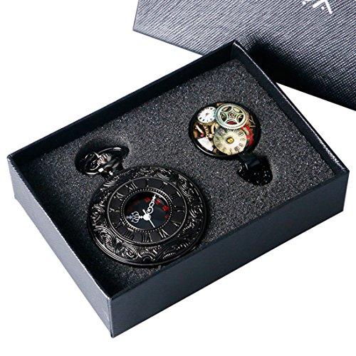 xigeya schwarz Vintage Antik Taschenuhr Quarz Anhaenger Halskette Kette Herren Damen mit Geschenk Box