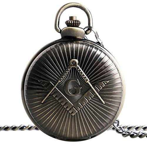 xigeya Symbolische Collectible Freimaurer Taschenuhr Freimaurerei Klappmesser G Halskette 30 cm Kette Freimaurer Geschenke fuer Herren