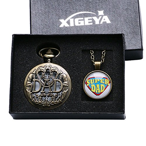 Xigeya Taschenuhr zum Vatertag mit Aufdruck Dad Bronze Anhaenger Quarz mit Aussparungen Herrengeschenk und Geschenk Box