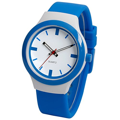 xigeya Wasserdicht Kinder Studenten Silikon Uhr Watch Damenuhr Quarz Armbanduhr Blau