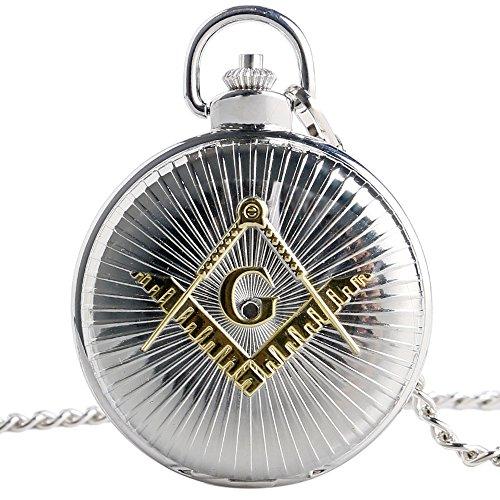 Xigeya Taschenuhr mit Kette Silber grosser Drehknopf mit gelbem Freimaurer Symbol und Muster