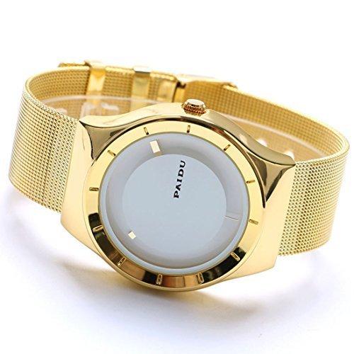 xigeya New Weiss Zifferblatt Quarz Paidu Uhren Armbanduhr Edelstahl Mesh Band Herren Armbanduhr Frauen