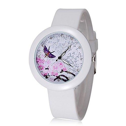 ufengke romantische lila schmetterling pflaumenbluete wahlkleid handgelenk armbanduhren fuer damen maedchen strass zahlen kautschukband uhr