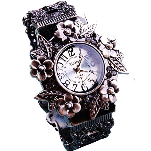 ufengke jahrgang stilvolle frauen geschnitzte blume blatt armbanduhren armband retro damen armbanduhren weiss
