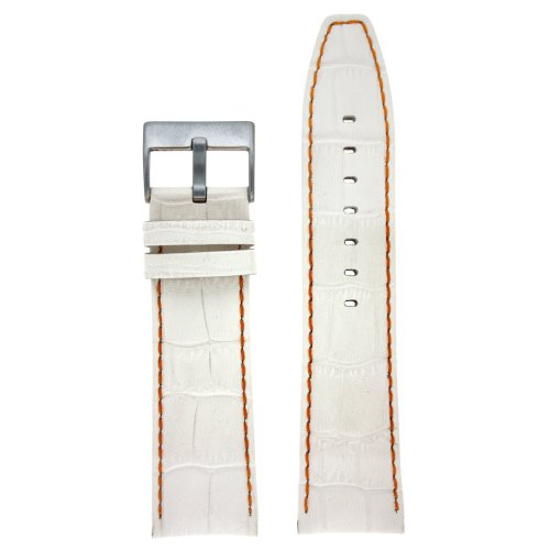 Armbanduhr Band Echt Kalbsleder Alligator Grain Weiss mit Orange Naehte Dick Gepolstert 24 mm