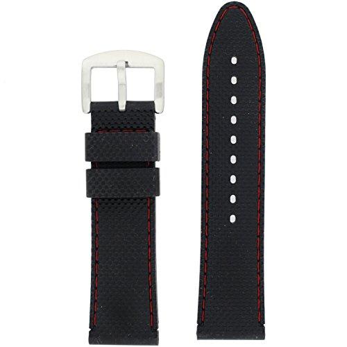 22 mm UHR Band Silikon Gummi schwarz Naht rot wasserdicht