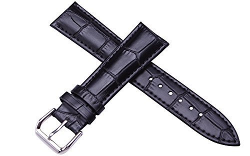 Damen Schwarz Kalb Leder Armbanduhr Band 14 mm Breite 18 cm Laenge matt mit Low Gloss