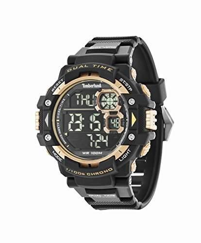 Timberland Tuxbury Herren Digitale Armbanduhr mit schwarzem Zifferblatt Digital-Display und schwarzes PU-Armband 14260JPB02A