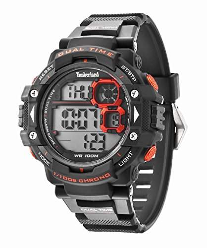 Timberland TUXBURY Herren Digitale Armbanduhr mit grauem Zifferblatt Digital Display und grau Silikon Gurt 14260JPGY13