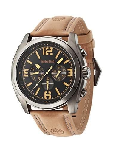 Timberland Brattleboro Herren-Quarzuhr mit schwarzem Zifferblatt Chronograph-Anzeige und braunem Lederband 14366jsu02