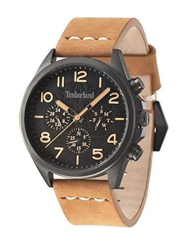 Timberland Bartlett Herren-Quarzuhr mit schwarzem Zifferblatt Chronograph-Anzeige und braunem Lederband 14400jsu02