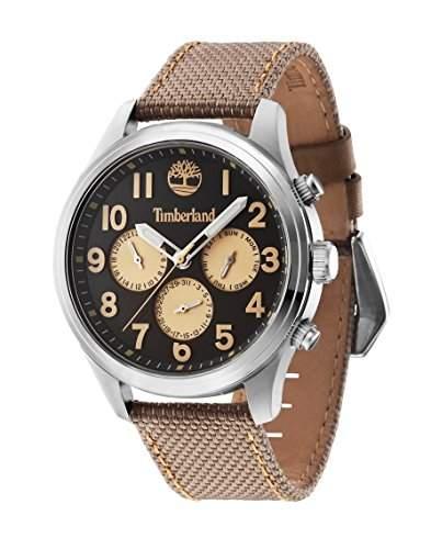 Timberland Rollins Junior Herren Armbanduhr Quarz mit grau Zifferblatt Chronograph-Anzeige und Beige Nylon Gurt 14477js61