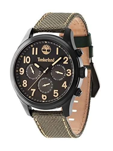 Timberland Rollins Junior Herren Armbanduhr Quarz mit grau Zifferblatt Chronograph-Anzeige und Gruen Nylon Gurt 14477jsb61