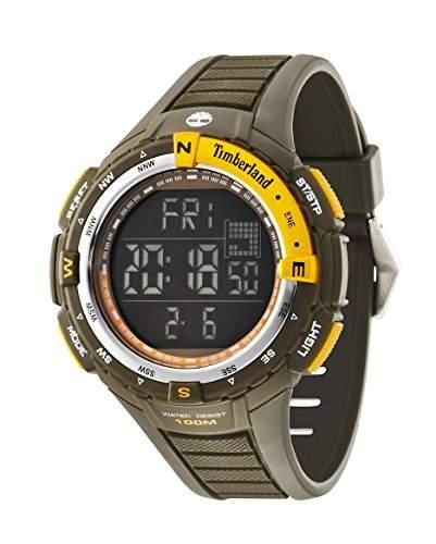 Timberland Cowden-Herren Digitale Armbanduhr mit LCD Dial Digital Display und Gruen Rubber Strap 14502jpgns02