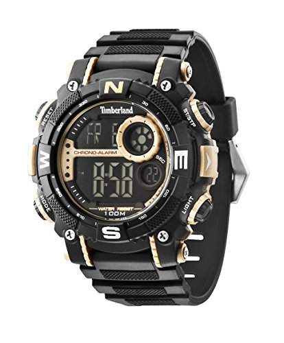 Timberland Tremont Herren Quarz-Uhr mit LCD Digital Display und schwarz Gummiband 14503jpbg02