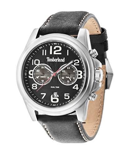 Timberland Edward Pickett Herren-Quarzuhr mit schwarzem Zifferblatt Chronograph-Anzeige und schwarzes Lederband 14518js02A