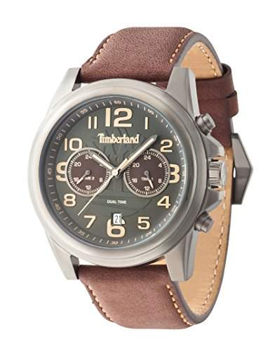 Timberland Edward Pickett Herren Armbanduhr Quarz mit grau Zifferblatt Chronograph-Anzeige und braun Lederband 14518jsu61A