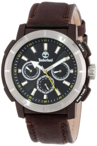 Timberland Herren 13325JPDBS 02 Analog multifunktional 3 Haende Tag Datumsanzeige Zwei Zeitzonen Armbanduhr