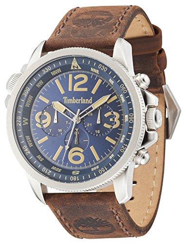 Timberland Campton Herren Armbanduhr mit blauem Zifferblatt analogem Display und dunkelbraunem Lederband 13910JS 03