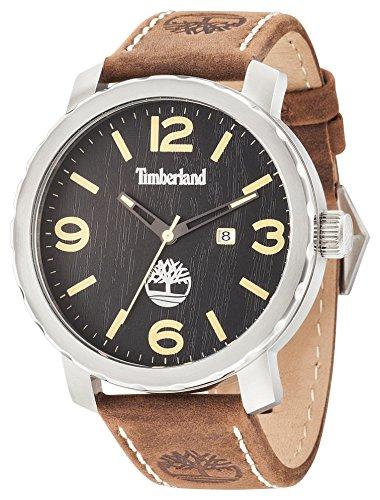 Timberland Pinkerton Herren Quarzuhr mit schwarzem Zifferblatt Analog Anzeige und dunkelbraun Lederband 14399 X S 02