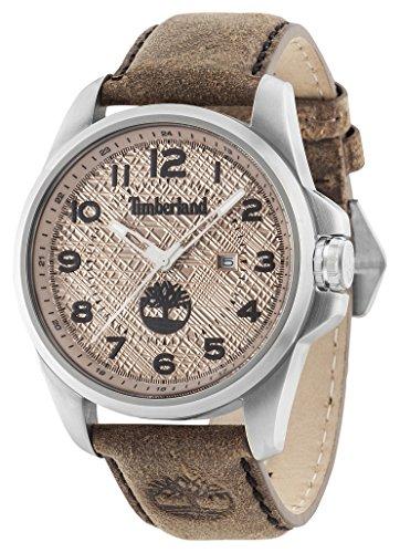 Timberland Leidener Herren Quarz Uhr mit Zifferblatt Analog Anzeige und braun Lederband 14768js 07
