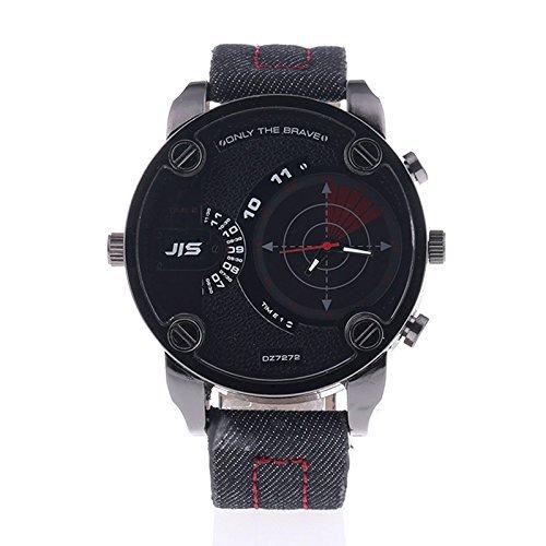 Herren Armbanduhr mit Kasten Analog Glas Luxusmode Leder Armband Uhr