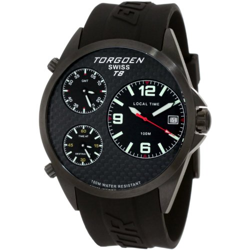 TORGOEN Swiss Herren Armbanduhr Analog Edelstahl schwarz T08304
