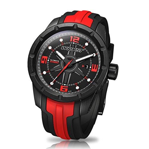 Schwarz und Rot Swiss Sport Armbanduhr wryst Ultimate ES60 Fuer extreme sports