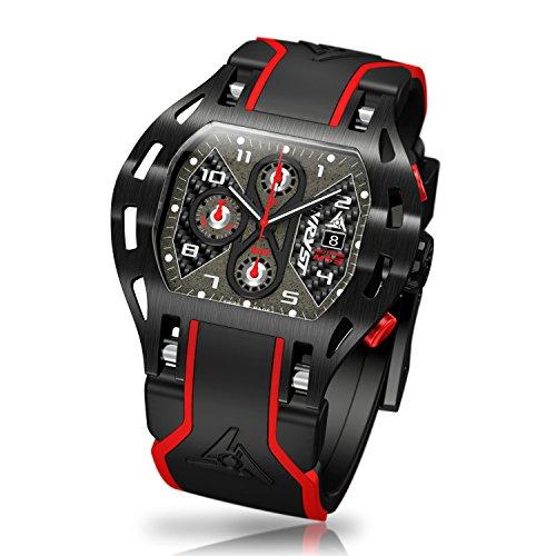 Schwarz Sport Armbanduhr Karbonfaser wryst Motoren MS3