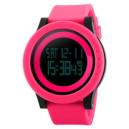 TTLIFE Uhr Silikon Uhr Frauen Armbanduhr wasserdichte Armbanduhren LED uhr digitale Uhr waistwatchs Fashion Uhr Sports Watches Silicone Watch Waterproof Watch Rot