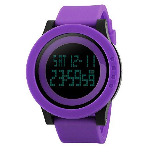 TTLIFE Uhr Silikon Uhr Frauen Armbanduhr wasserdichte Armbanduhren LED uhr digitale Uhr waistwatchs Fashion Uhr Sports Watches Silicone Watch Waterproof Watch lila