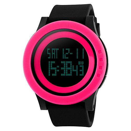 TTLIFE Uhr Silikon Uhr Frauen Armbanduhr wasserdichte Armbanduhren LED uhr digitale Uhr waistwatchs Fashion Uhr Sports Watches Silicone Watch Waterproof Watch Rot Schwarz