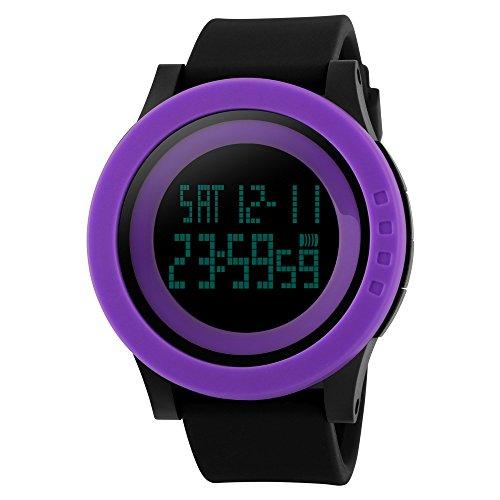TTLIFE Uhr Silikon Uhr Frauen Armbanduhr wasserdichte Armbanduhren LED uhr digitale Uhr waistwatchs Fashion Uhr Sports Watches Silicone Watch Waterproof Watch lila schwarz