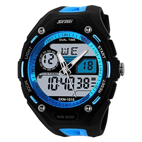 TTLIFE Marke Mann Unisex Uhren Weisesport Armbanduhren Doppelzeit Digitale Analoge 50M wasserdichte Uhr Multifunktionsuhr Blau