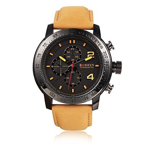 Tidoo Uhren Herren Sport Military Armbanduhr Japaneses Quarzwerk Analog Zifferblatt staintless Stahl Fall Gelb Leder Band Schwarz Face