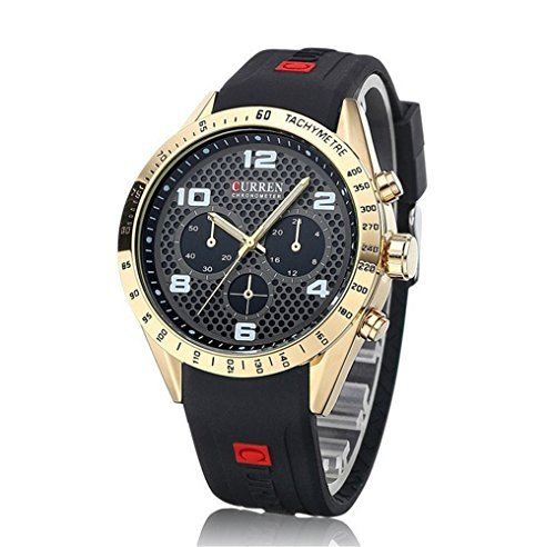 Tidoo Uhren Herren Sport Armbanduhr Japaneses Quarzuhrwerk staintless Stahl Gold Ton Fall Schwarz Analog Zifferblatt schwarz Silikon Band