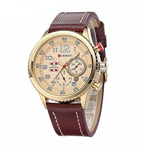 Tidoo Uhren Herren Business Armbanduhr Japaneses Quarzuhrwerk staintless Stahl Gold Tone Fall Gold Analog Zifferblatt braun Leder Band