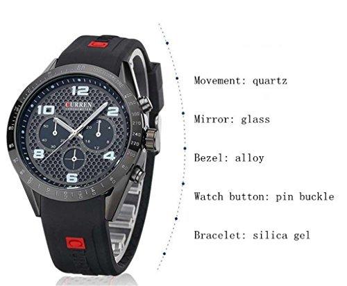 Tidoo Uhren Herren Sport Armbanduhr Japaneses Quarzuhrwerk staintless Stahl schwarz Fall Schwarz Analog Zifferblatt schwarz Silikon Band
