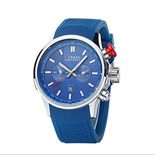 Tidoo Uhren Herren Business Armbanduhr Japaneses Quarzuhrwerk staintless Stahl Fall Blau Analog Zifferblatt mit Kalender Schwarz Leder Band