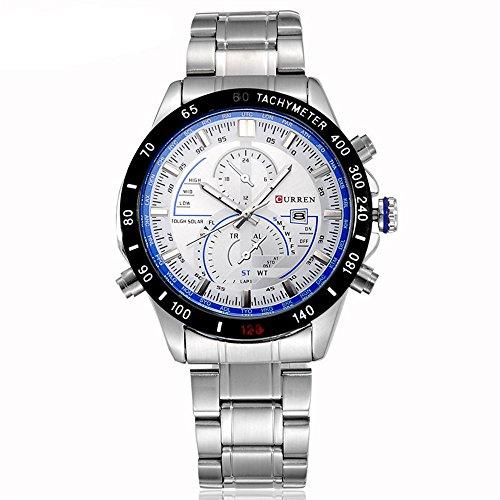Tidoo Uhren Herren Racing Sport Armbanduhr Japaneses Quarzuhrwerk staintless Stahl schwarz Fall Blau Weiss Meter Analog Kalender Zifferblatt Edelstahl Band