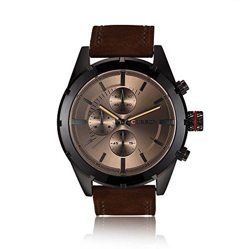 Tidoo Uhren Herren Luxus Business Armbanduhr Japaneses Quarzuhrwerk staintless Stahl schwarz Fall Braun Analog Zifferblatt schwarz Leder Band