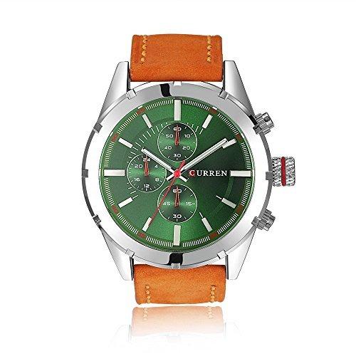 Tidoo Uhren Herren Luxus Business Armbanduhr Japaneses Quarzuhrwerk staintless Stahl Silber Tone Fall Gruen Analog Zifferblatt Orange Leder Band