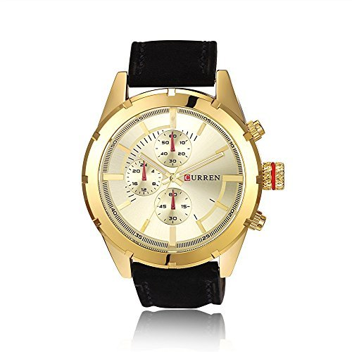 Tidoo Uhren Herren Luxus Business Armbanduhr Japaneses Quarzuhrwerk staintless Stahl Gold Tone Fall Gold Analog Zifferblatt schwarz Leder Band