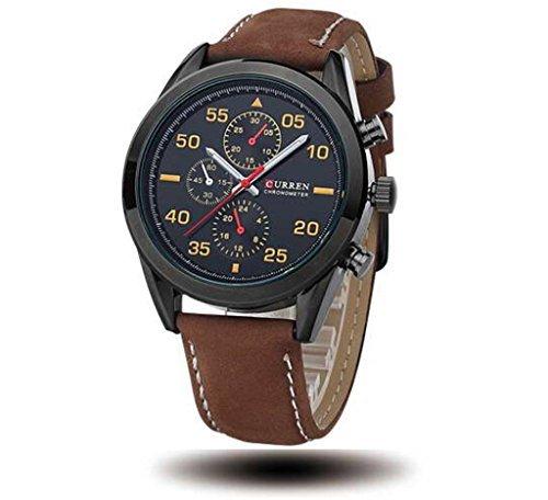 Tidoo Uhren Herren Business Armbanduhr Japaneses Quarzuhrwerk staintless Stahl schwarz Fall Schwarz Analog Zifferblatt Kaffee Leder Band