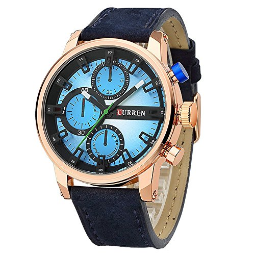 Tidoo Marke Uhr Wasserdicht Militaer Armbanduhr Japaneses Quarzuhrwerk blau Lederband Band