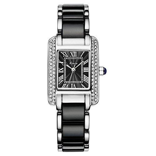Tidoo Kleid der Dame Armbanduhr Weiss Edelstahl Keramik Band Rentangle Face Roemische Ziffern Armbanduhr