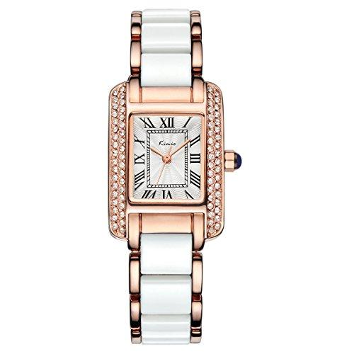 Tidoo Jewelry Noble Kleid Armbanduhr Japaneses Quarz Bewegung Strass Gesicht mit Rose Vergoldet Band Armbanduhr fuer Damen