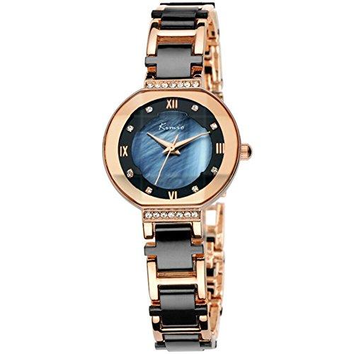 Tidoo Luxus Damen Armbanduhr mit Japaneses Bewegung Keramik Band Luxus Rose Vergoldet Schwarz Armband Armbanduhr 508S