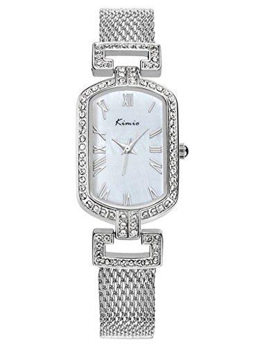 Tidoo Armreif Armband Armbanduhr staintless Stahl platiniert Rechteck Fall Kleid Wath fuer Frauen